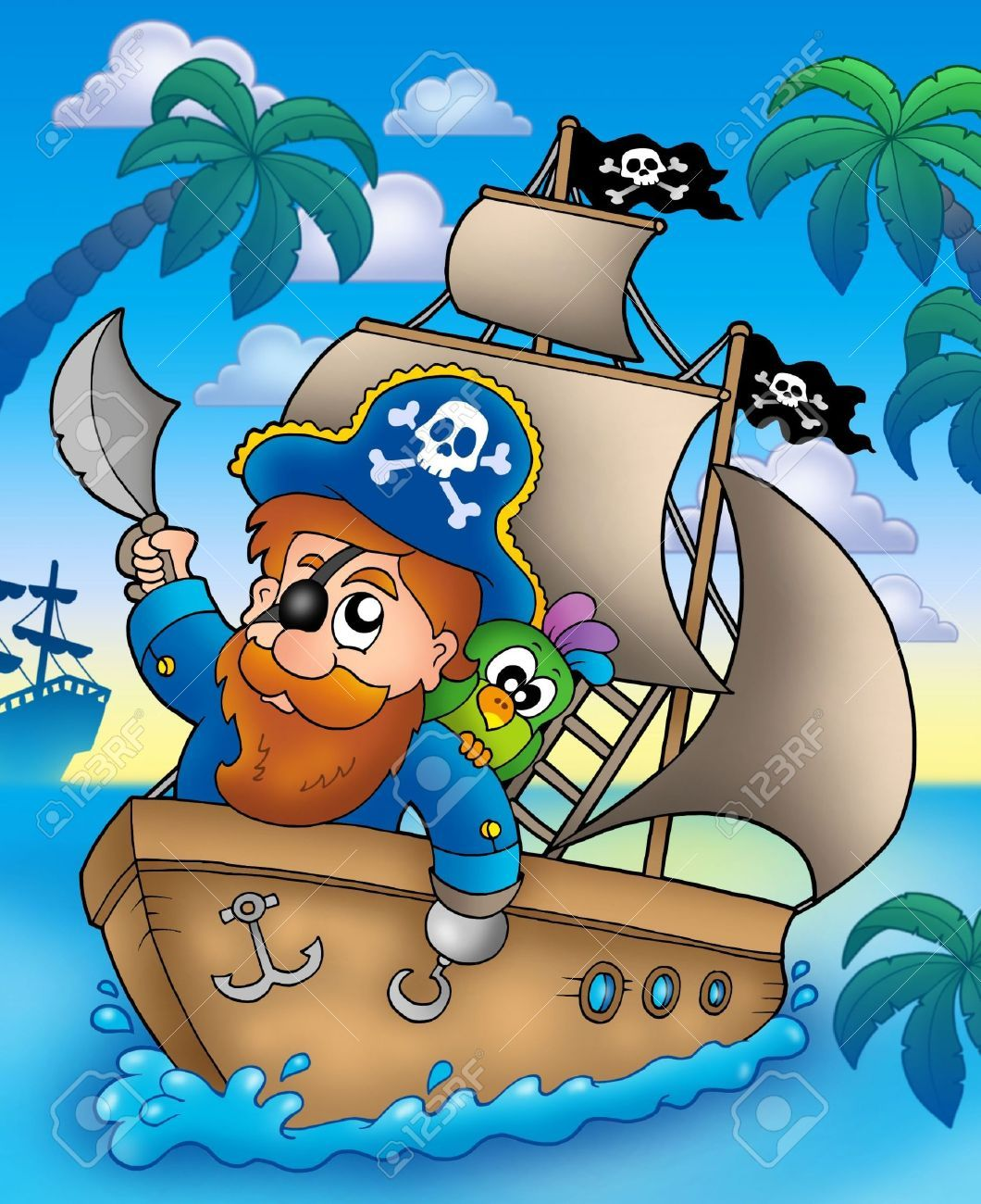 Coloriage Bateau Pirate Couleur.Cartoon Voile Sur Le Bateau Pirate Illustration En Couleur