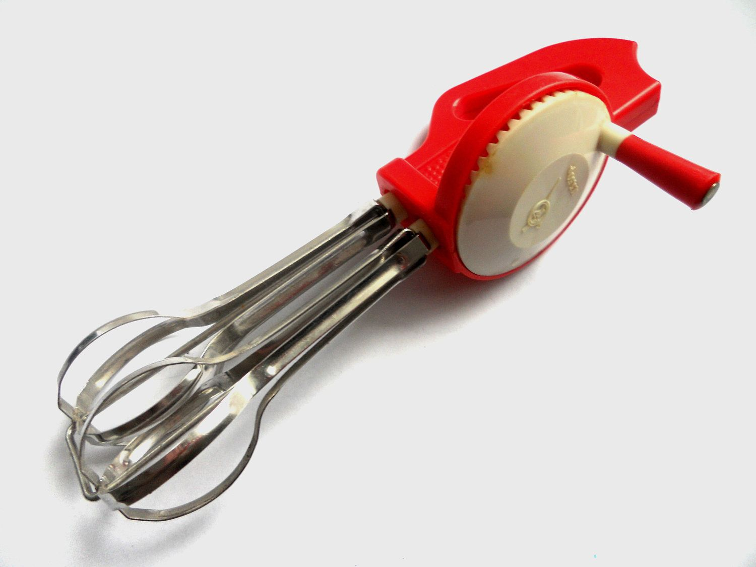 Soviet hand crank mixer egg beater 1980\'s Vintage red and white ...