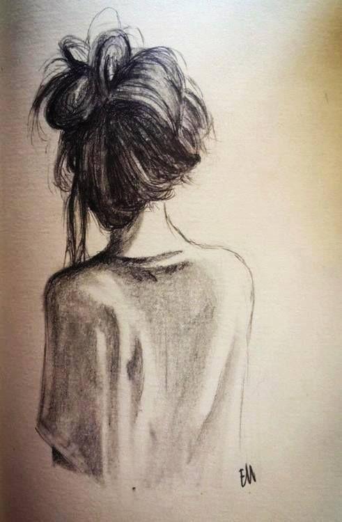 Chica de espaldas dibujo
