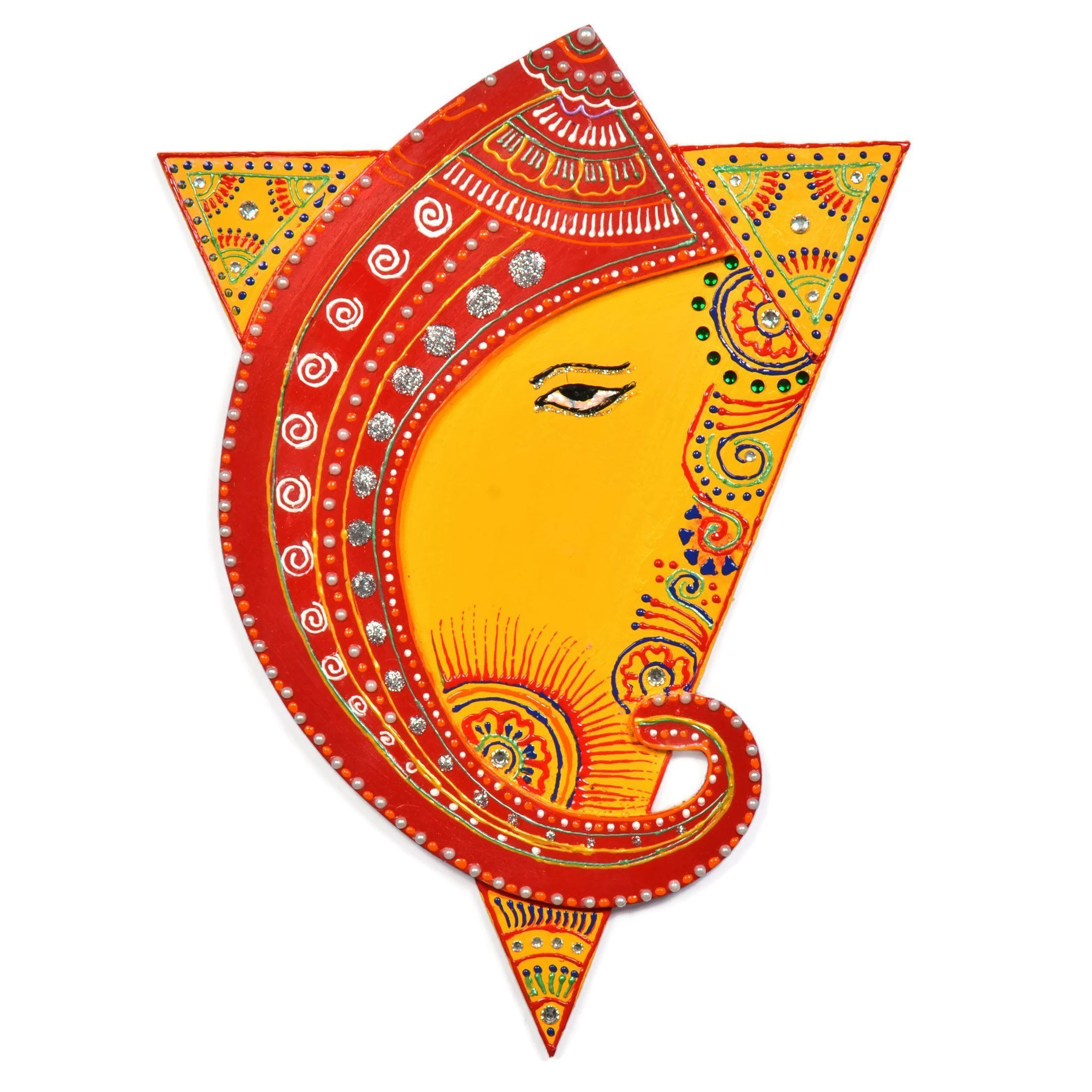 Shakti Triangle with Ganesh Wall Decor Painting - Yellow & Red Base ...