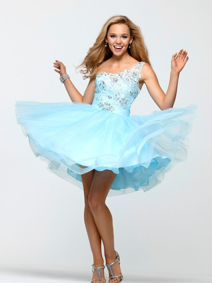be41a705f5 This short lace and tulle Clarisse Prom Dress 2157 features a single  shoulder strap