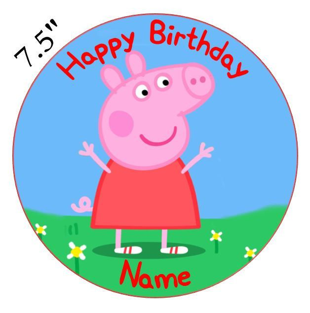 Personalised peppa pig edible icing cake topper or cupcake toppers pp2 by buyingbritish on