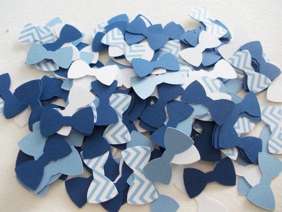 Blue Heart Confetti Hand Tied Bow