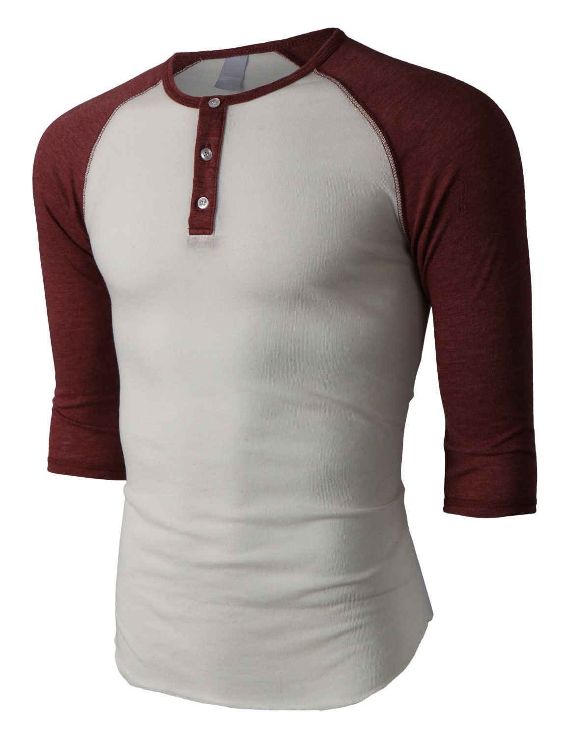 57d2e4a32f LE3NO PREMIUM Mens Slim Fit Raglan 3 4 Sleeve Baseball Button Henley Shirt