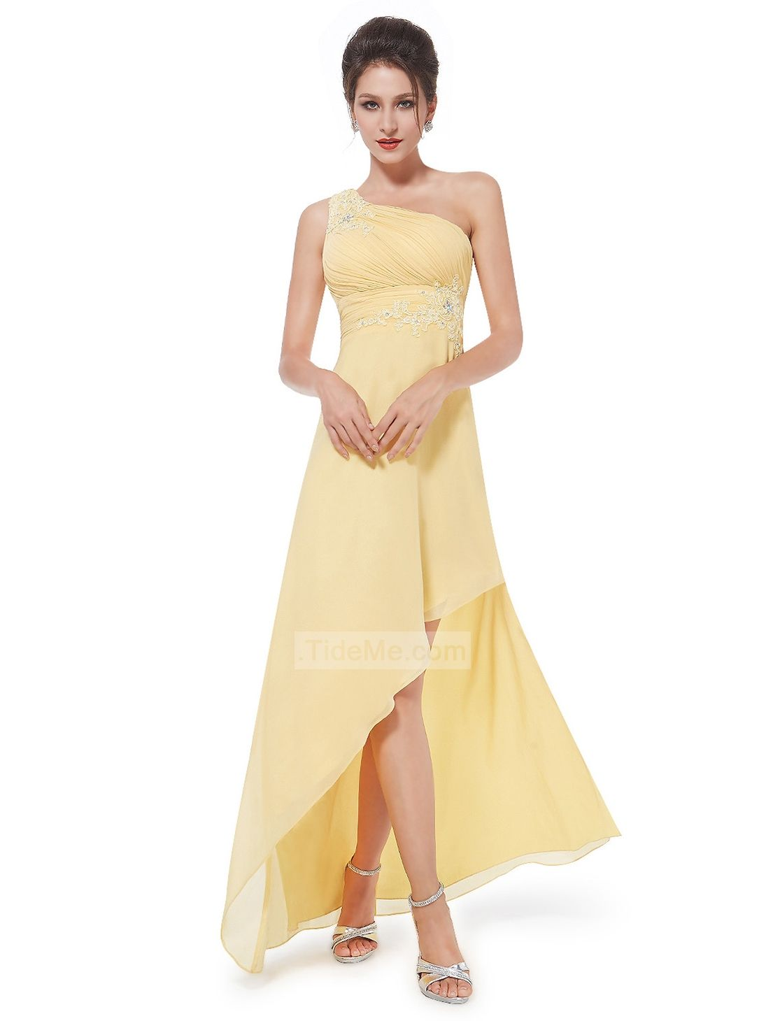 Amazing yellow chiffon one shoulder high low beaded lace appliques