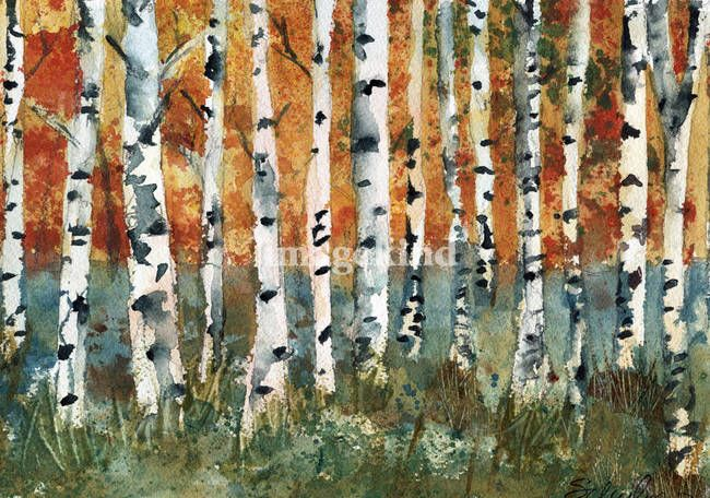 Tree Painting Birch Trees By Miriam Schulman Watercolor Trees