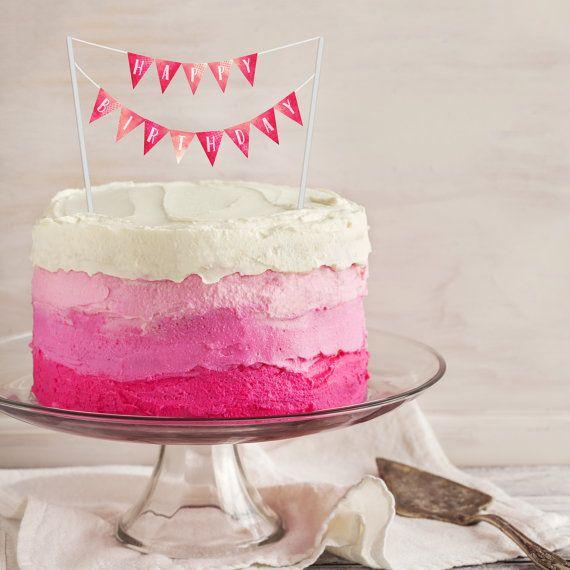 Birthday Cake Banner PRINTABLE Cake Topper Pink Watercolor
