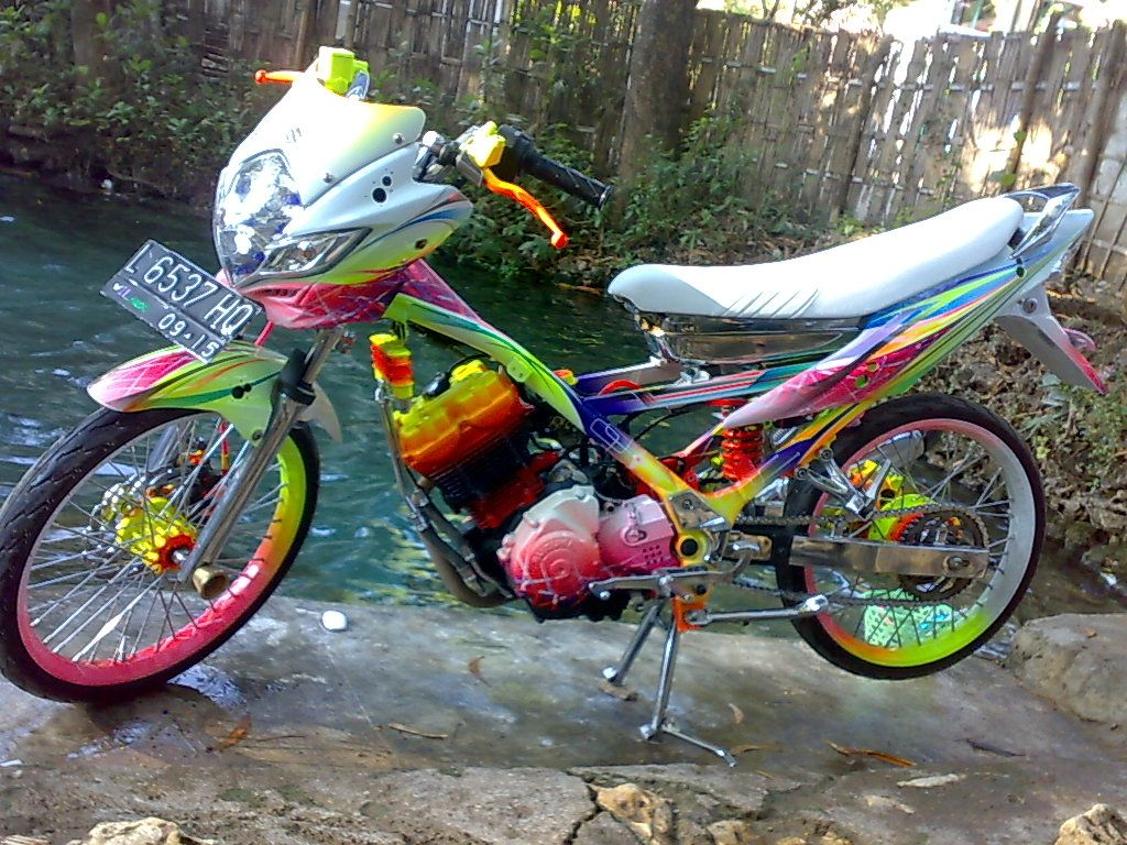 modifikasi satria fu full colour | modif motor | pinterest