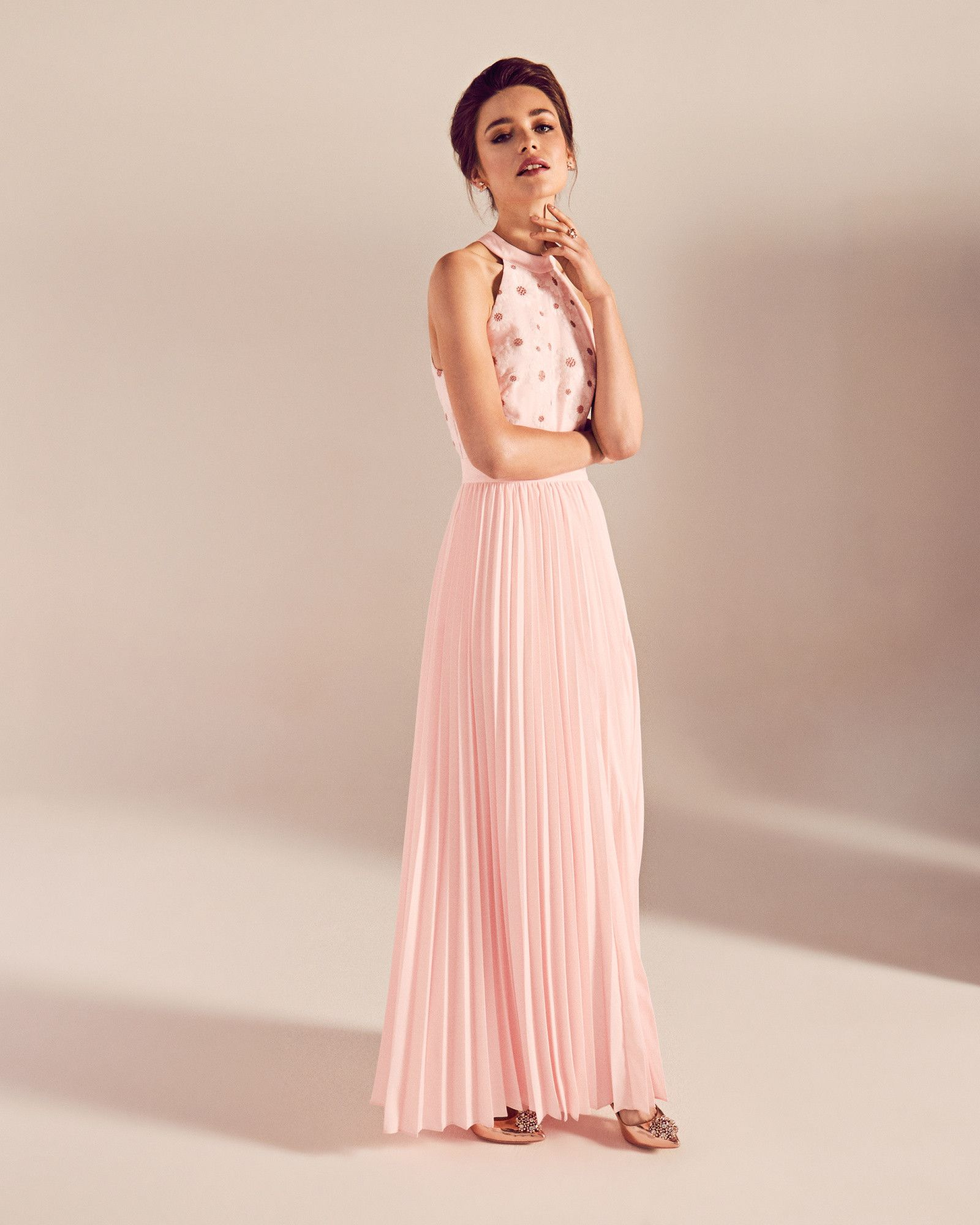 Robe longue fleurie jacquard - Rose | PE17 Tie The Knot | Ted Baker ...