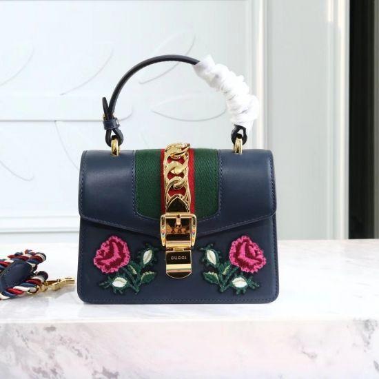 1cd2d1bdc24 Gucci GG Sylvie leather mini bag Tote Handbag 470270 Black