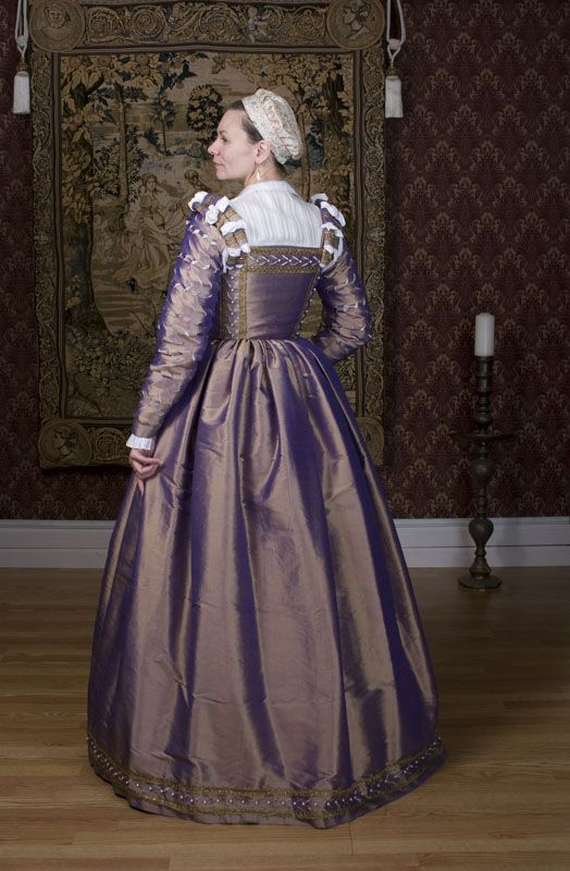 A gown of lavender changeable silk taffeta in the style of the ...