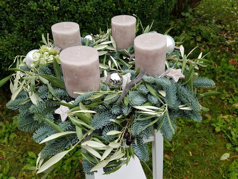 adventskranz adventskranz stylisch grau rose mit olive. Black Bedroom Furniture Sets. Home Design Ideas