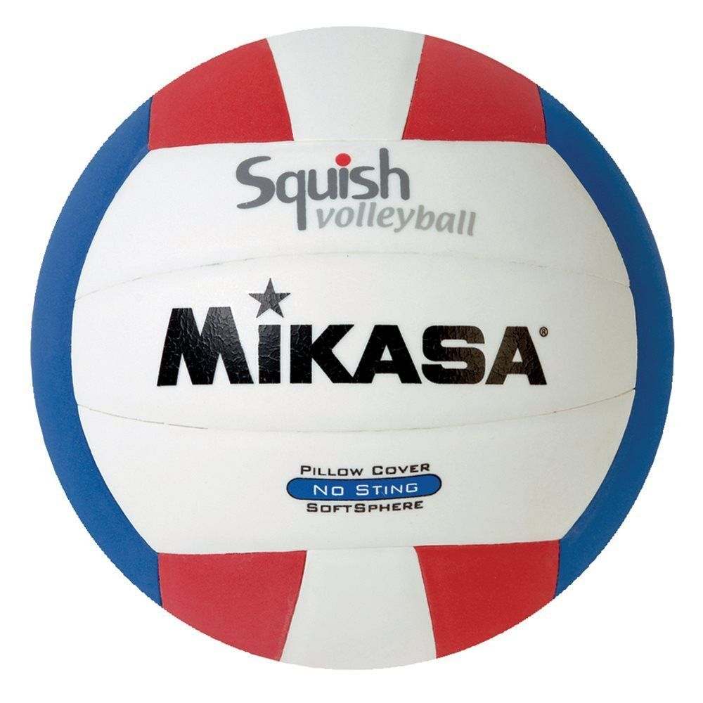 Mikasa Squish No Sting Pillow Cover Volleyball Red White Blue No Sting Cover Official Size Water Proof 1 Year Warranty Volleyballs Mikasa Volleyball