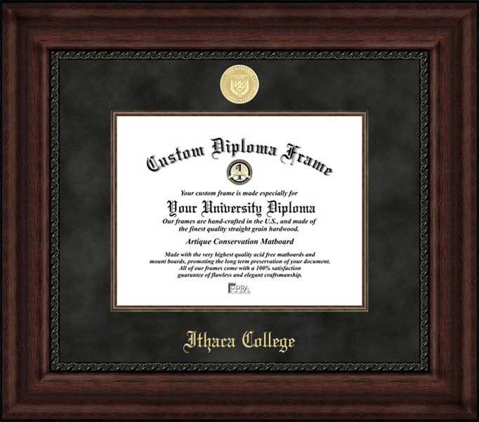 Ithaca College Diploma Frame - Gold Medallion - Suede Mat - Mahogany ...