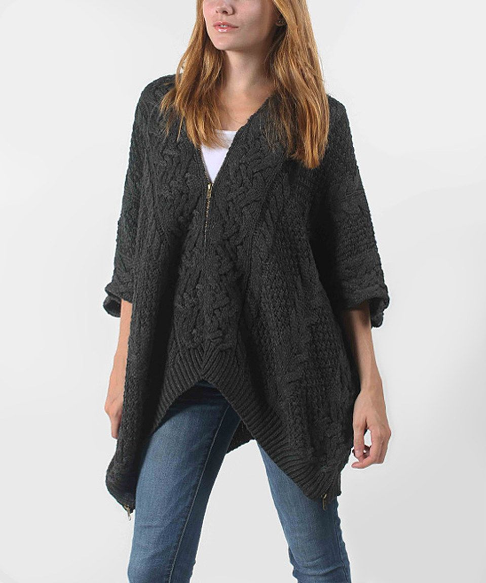 Sweet Sinammon Charcoal Cable-Knit Wool-Blend Cardigan by Sweet Sinammon #zulily #zulilyfinds