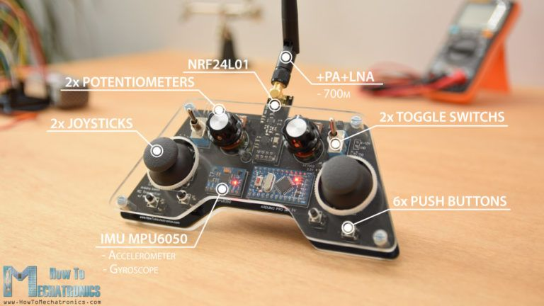 Arduino RC Controller with 14 channels and MPU6050