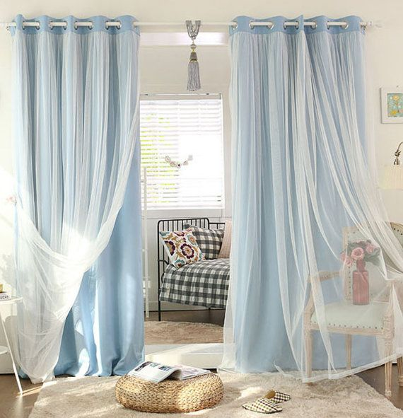 44 Colors White Tulle Sheer And Light Blocking Combo Curtains
