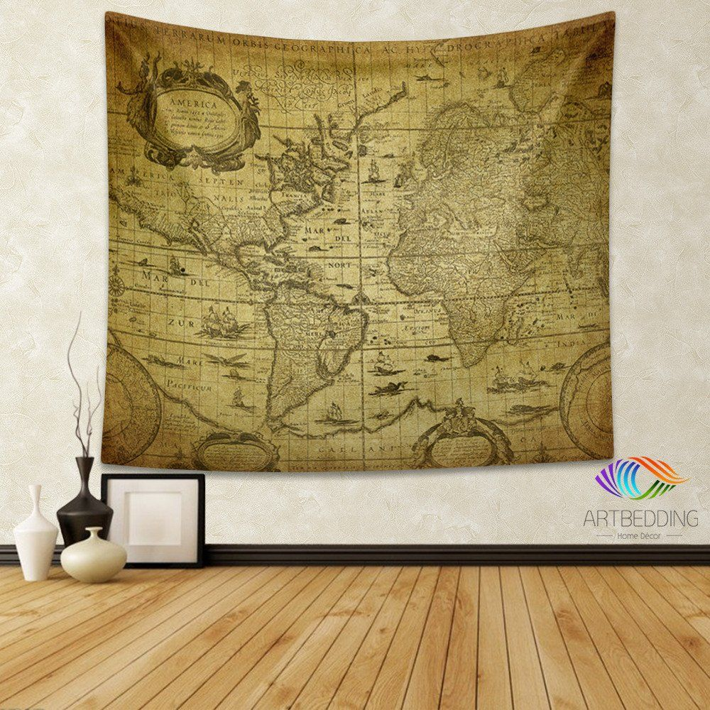 Vintage world map wall tapestry world map wall hanging old map vintage world map wall tapestry world map wall hanging old map wall decor gumiabroncs Images