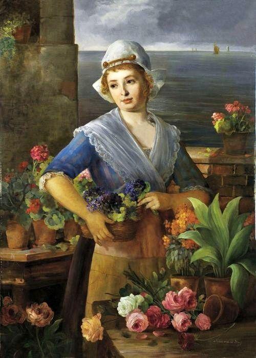 Jean von de Brug (19th-Century Dutch artist) Flower Seller