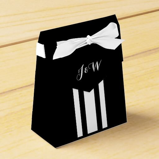Monogrammed wedding black white DIY Favor Box