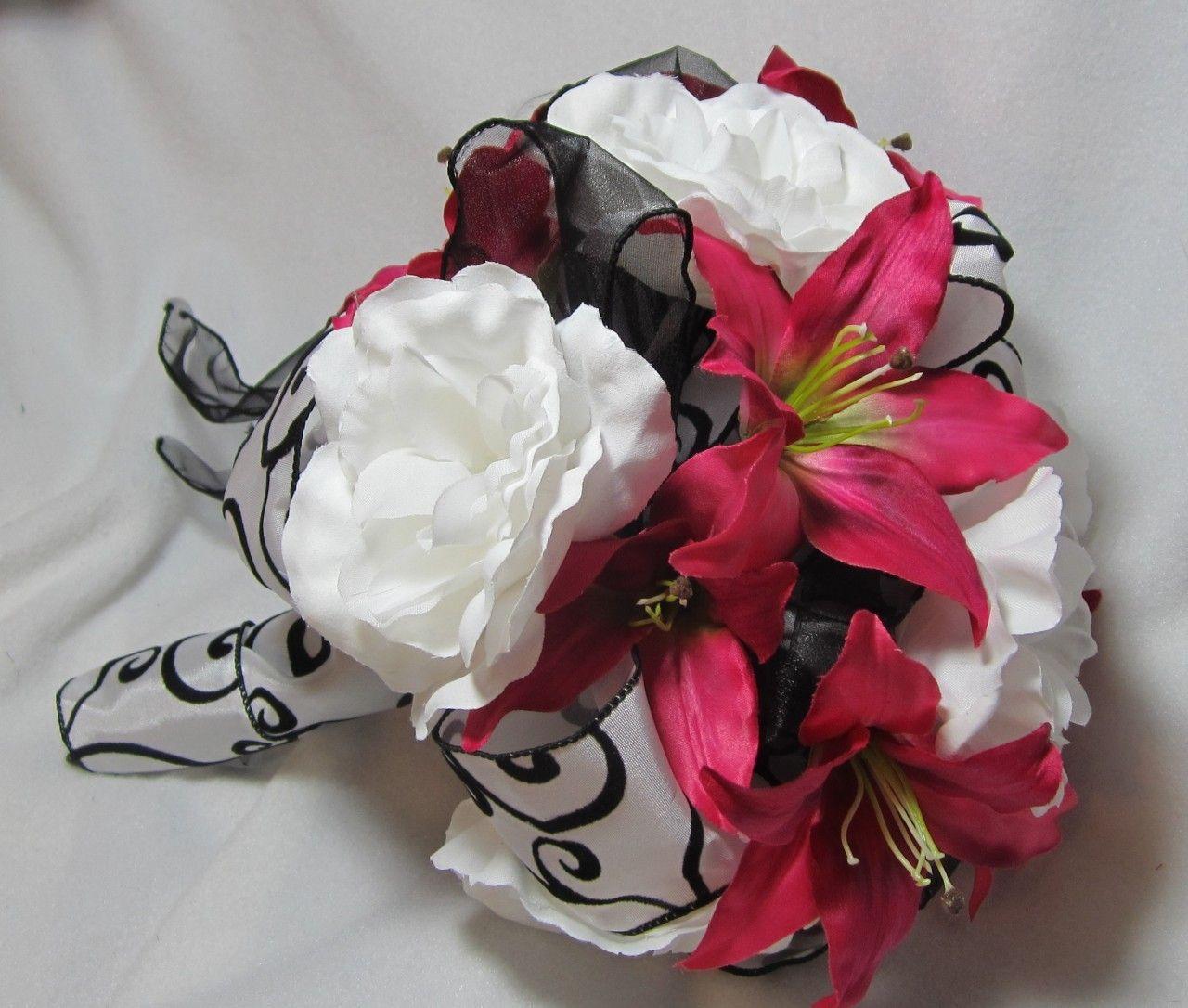 Pink Black And White Wedding Bouquet With Rhienstones Wedding