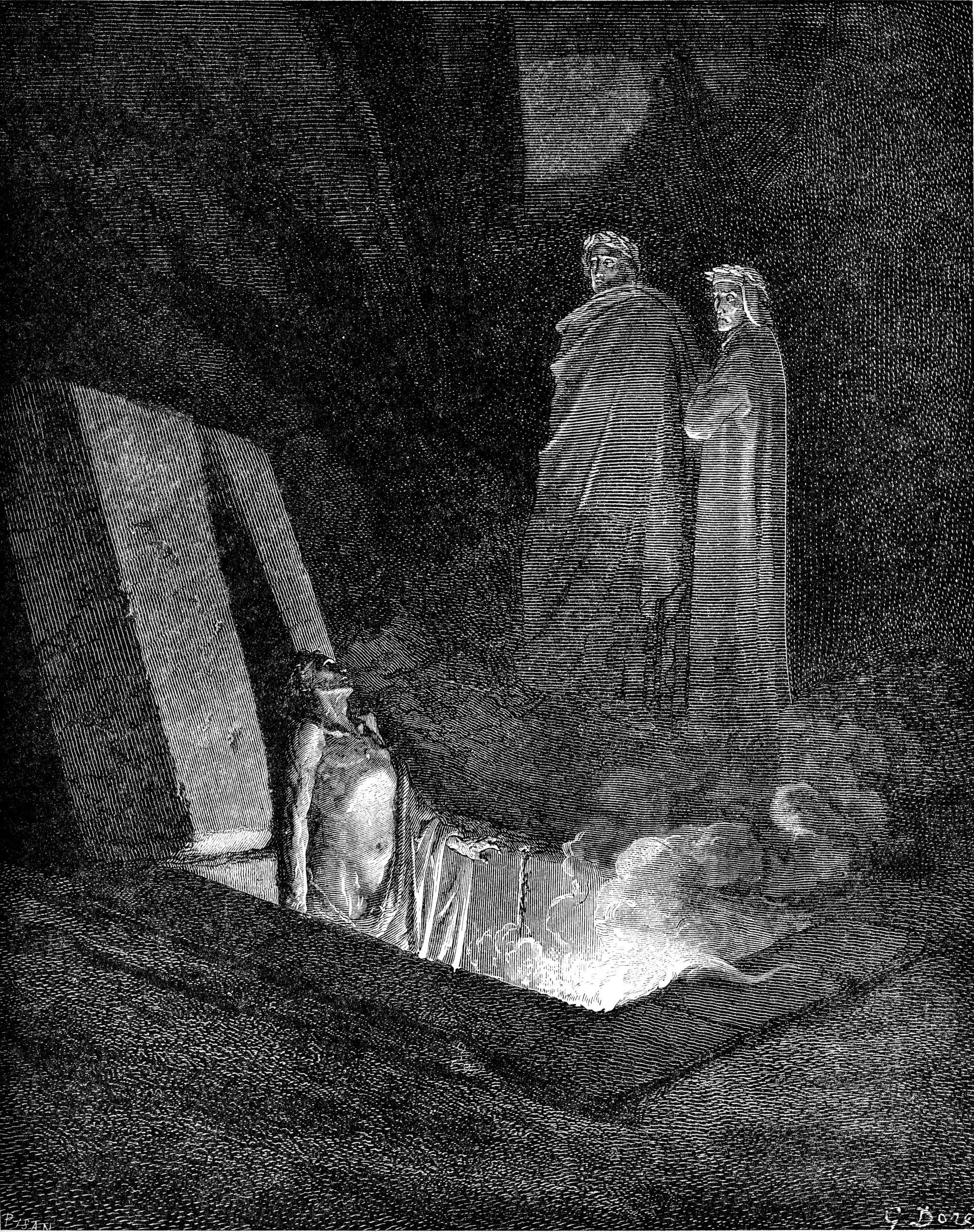 dore gustave dante and virgil before farinata inferno  dore gustave dante and virgil before farinata inferno