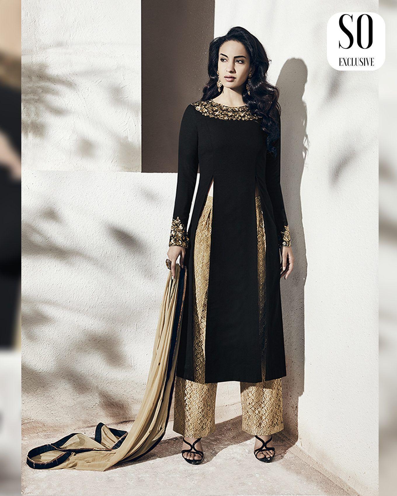 7f591eed8bdce Salwar brodé avec chale et pantalon Tunique longue ensemble Indien   NarkisFashion  Eid  Tunique
