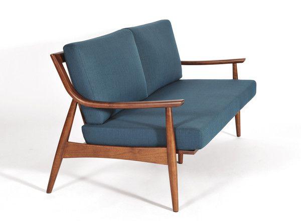 Modern Furniture Upholstery adam sofa, medium walnut   mid-century modern, mid century and