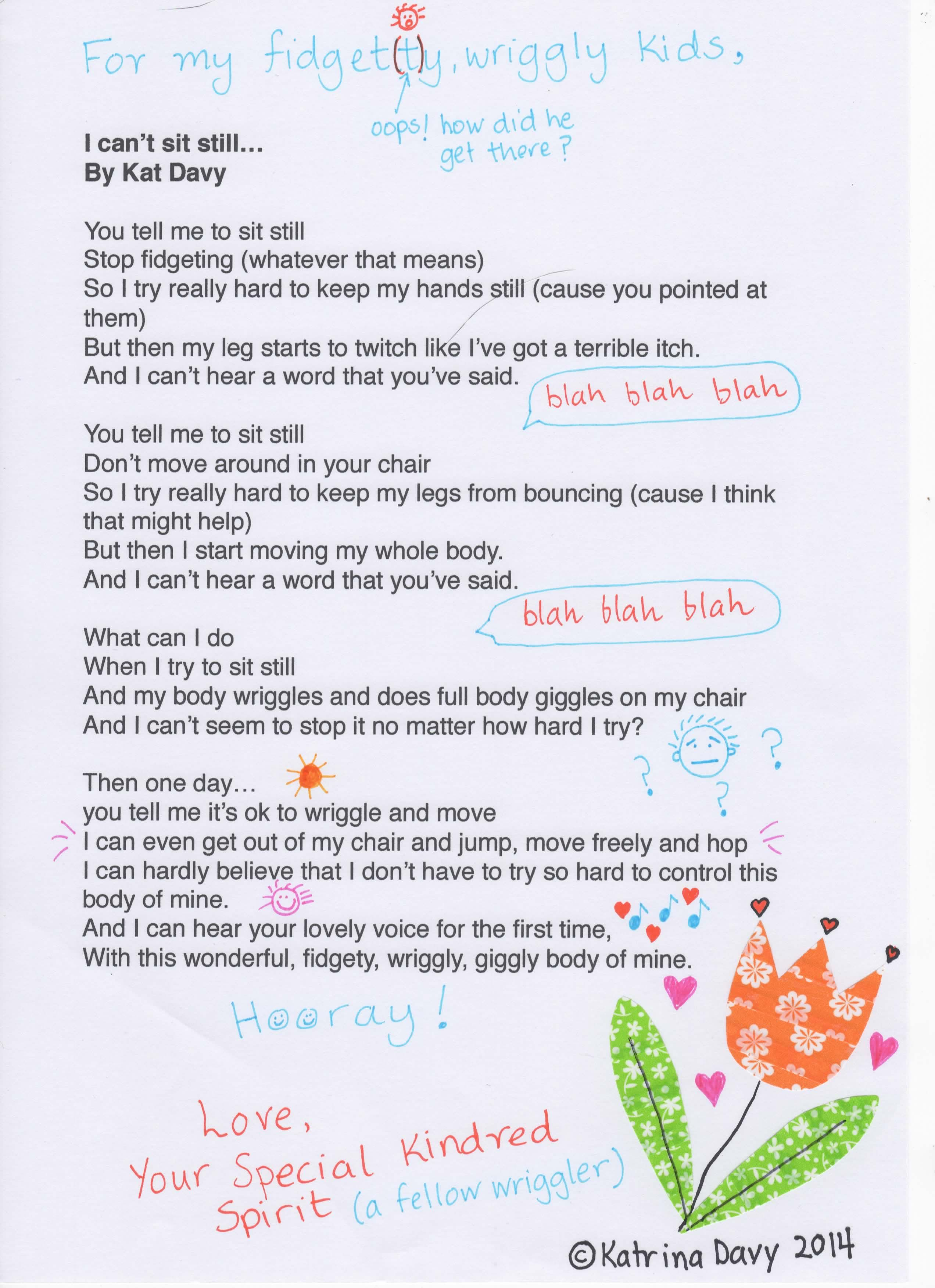 Is Your Childs Fidgeting Driving Your Crazy Heres A Poem From My