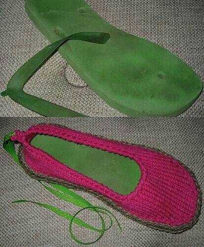 Upcycle / repurpose your old sandals sole by first cleaning then taking off thong part and either knitting around it or inserting into a pair of knit socks. G;)
