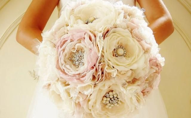 Weddbook ♥ Layers of satin, lace, tulle, chiffon and organza fabric used to create this beautiful bridal brooch bouquet. Soft colored bouquet will complement any wedding dress worn by the bride  Fabric Flower Bouquet,  Handmade Bridal Bouquet,  Vintage Wedding,  Custom Colors - New