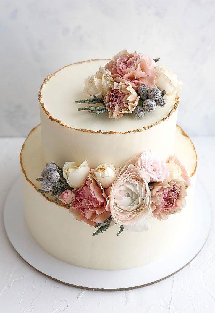 32 umwerfende hübsche Hochzeitstorten-Ideen – zweistufige weiße Hochzeitstorte…