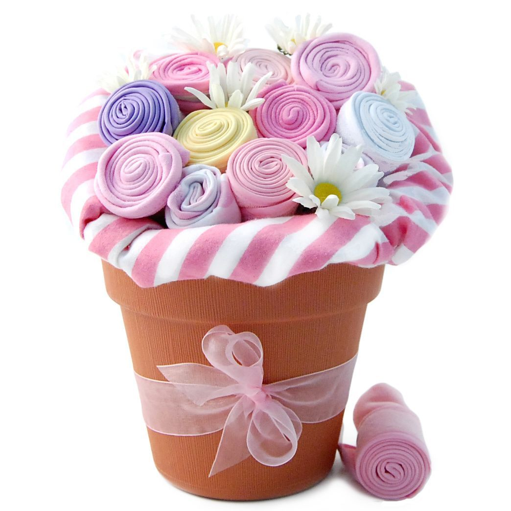 Congratulate new parents with this adorably unique gift bouquet take a look at this nikkis gift baskets pink baby blossom clothing bouquet on zulily today negle Gallery
