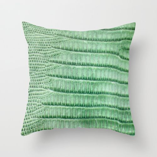 Green Snakeskin Pillow Cover.  Am in love with this green, and how the light reflects the scales.  This is a cotton polyester fabric pillow cover.  http://www.poeticpillow.com/sale.html