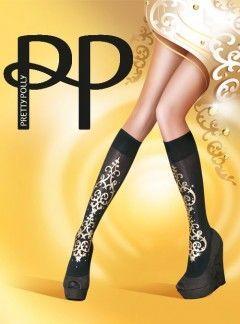 Pretty Polly Baroque Embellished Knee High Socks - ...