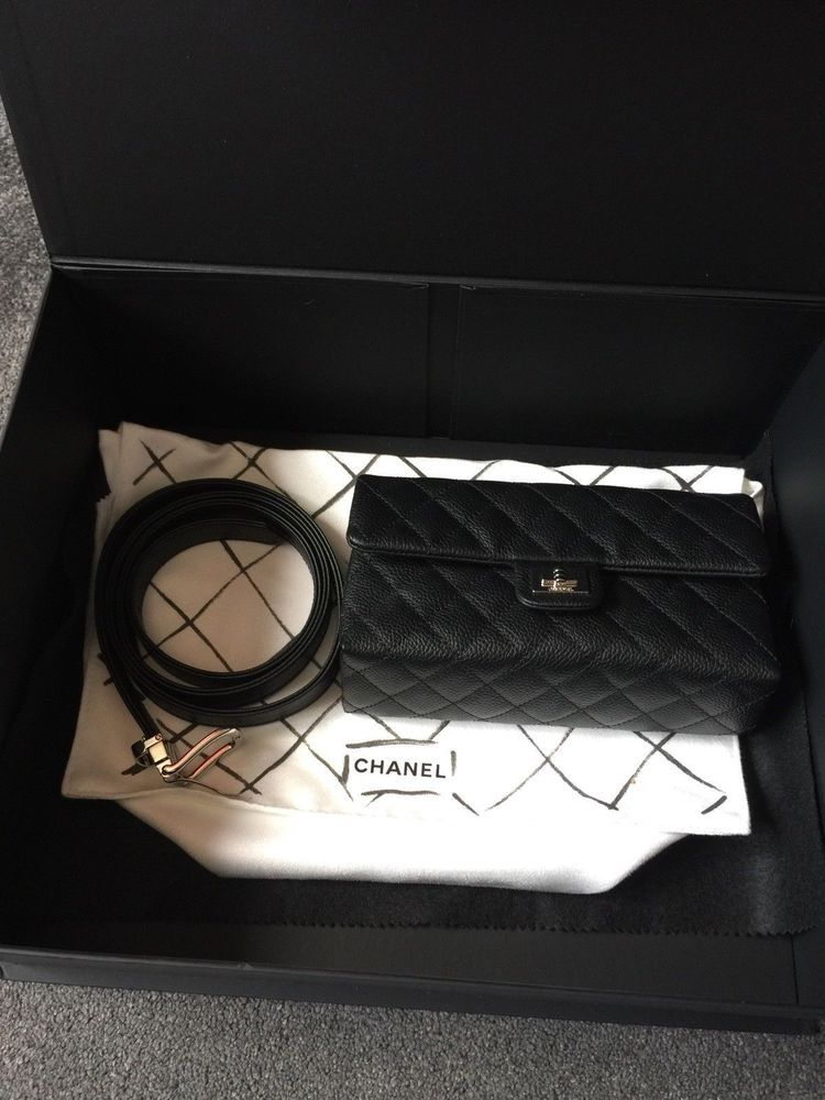 785af8810deb CHANEL RARE 2.55 CAVIAR QUILTED UNIFORM BUM BELT WAIST POUCH BAG BLACK  LEATHER