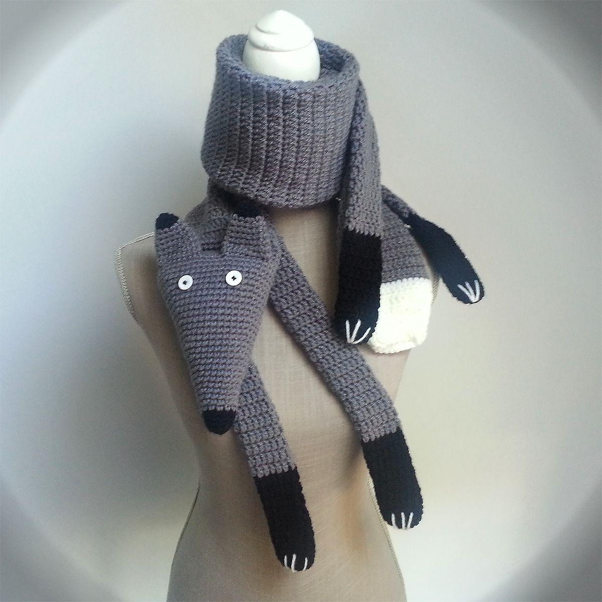 Echarpe au crochet loup renard gris originale en laine, fait main ...