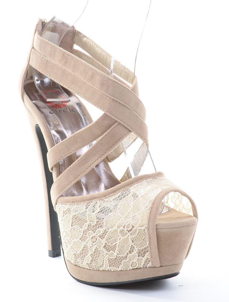 Criss Cross Peep-Toe Lace Platform Heels
