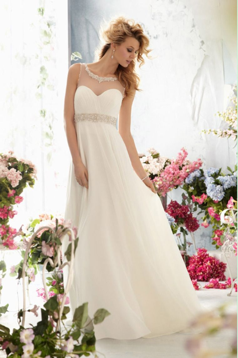 Pleated wedding dress   Scoop Beaded Neckline And Waistline Pleated Wedding Dress
