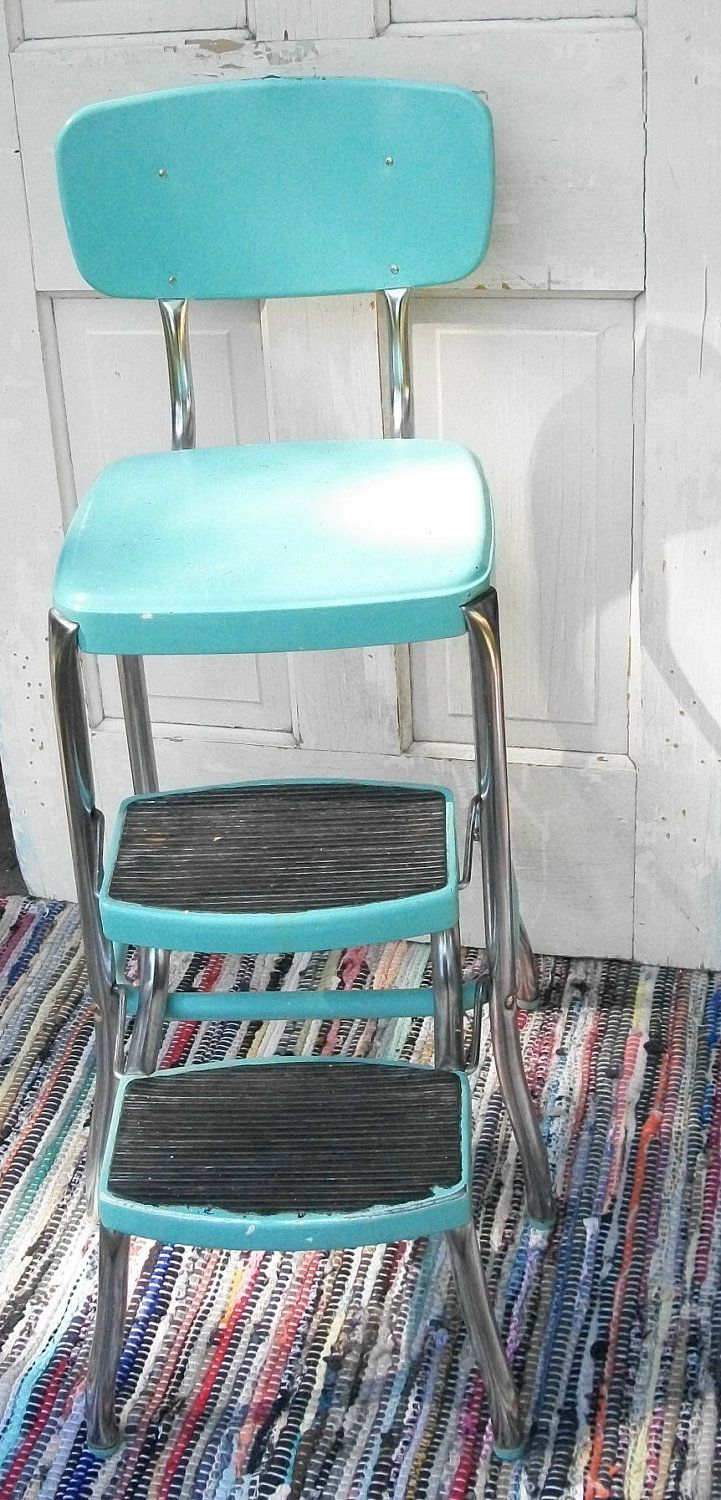Cosco step stool chair - Vintage Turquoise And Chrome Cosco Like Chair With Step Stool Mid Century Shabby Chic Cottage Chic