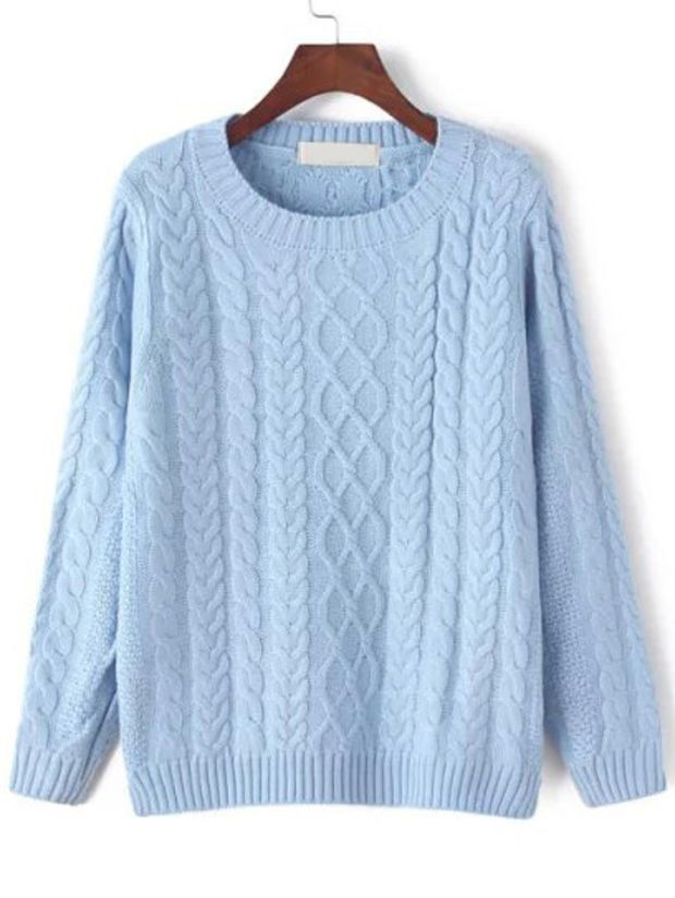 c3044ffa903 Light blue cable knit sweater | winter/fall fashion in 2019 | Cable ...