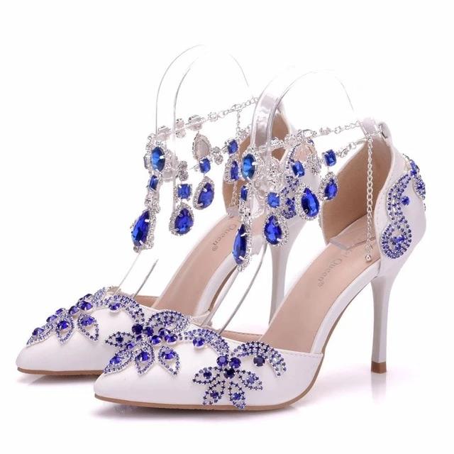 Gorgeous Handmade Wedding Shoes Lace Bridal Shoes Pearl Bridal Shoes Bridesmaid Shoes Beaded La Royal Blue Wedding Shoes Lace High Heels Blue Wedding Shoes