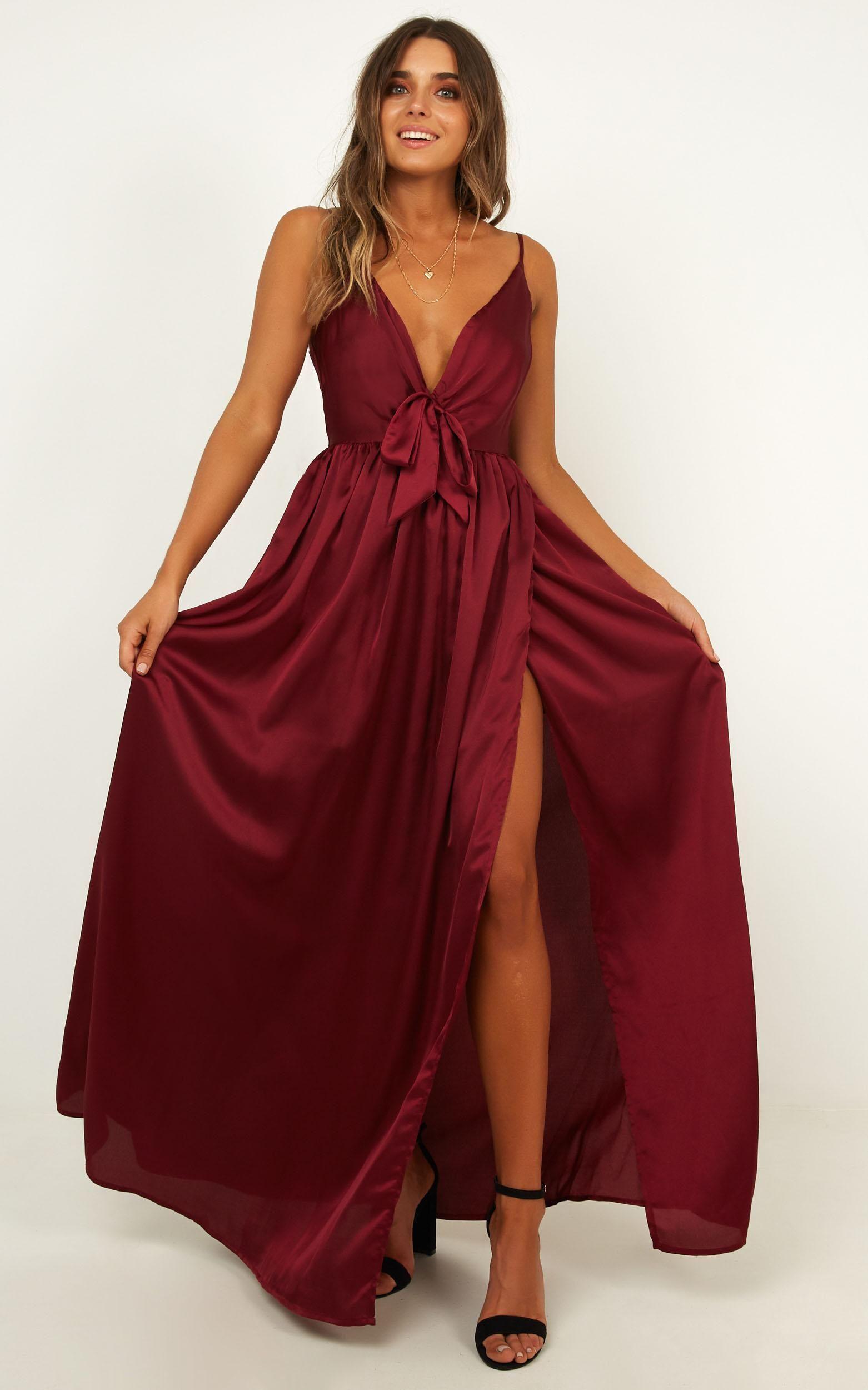 Miracle Worker Dress In Wine Satin Showpo Dresses Shop Maxi Dresses Maxi Dress [ 2500 x 1562 Pixel ]