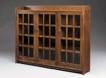 Oak Triple Door Bookcase Gustav Stickley Circa 1904 W Gallery Top Stickley Furniture Plans Gustav Stickley Stickley Furniture