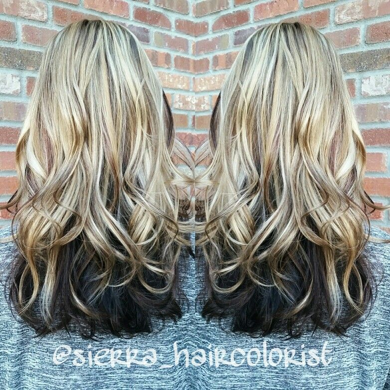 Highlights And Lowlights Blonde On Top Dark Underneath L Anza Haircolor Sierra Haircolorist Dark Underneath Hair Hair Blonde Hair Color