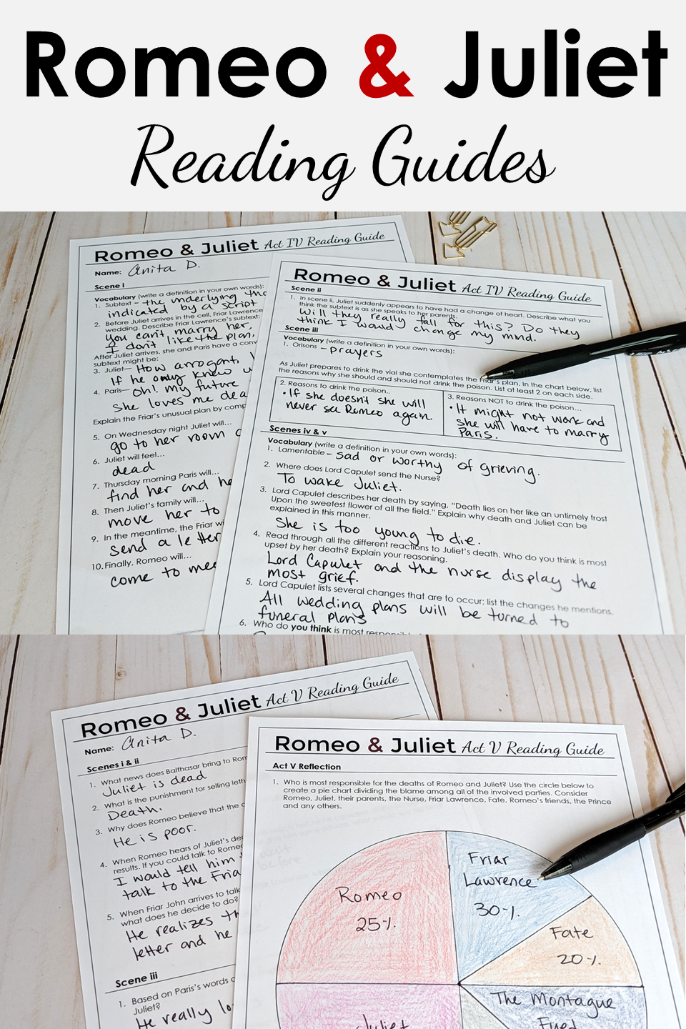 Romeo And Juliet Reading Guide High School Literature Art Lesson Plans Prologue Act 1 Study Answers