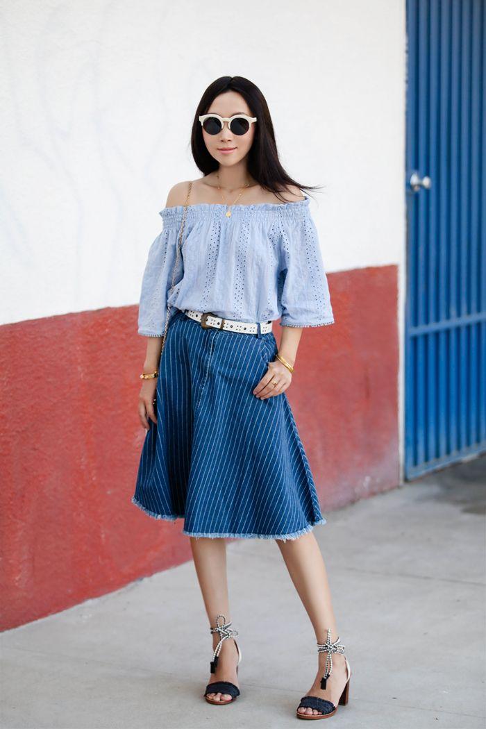 Eyelet Embroidered Off-shoulder Top in Blue, Tasseled Stripes A ...
