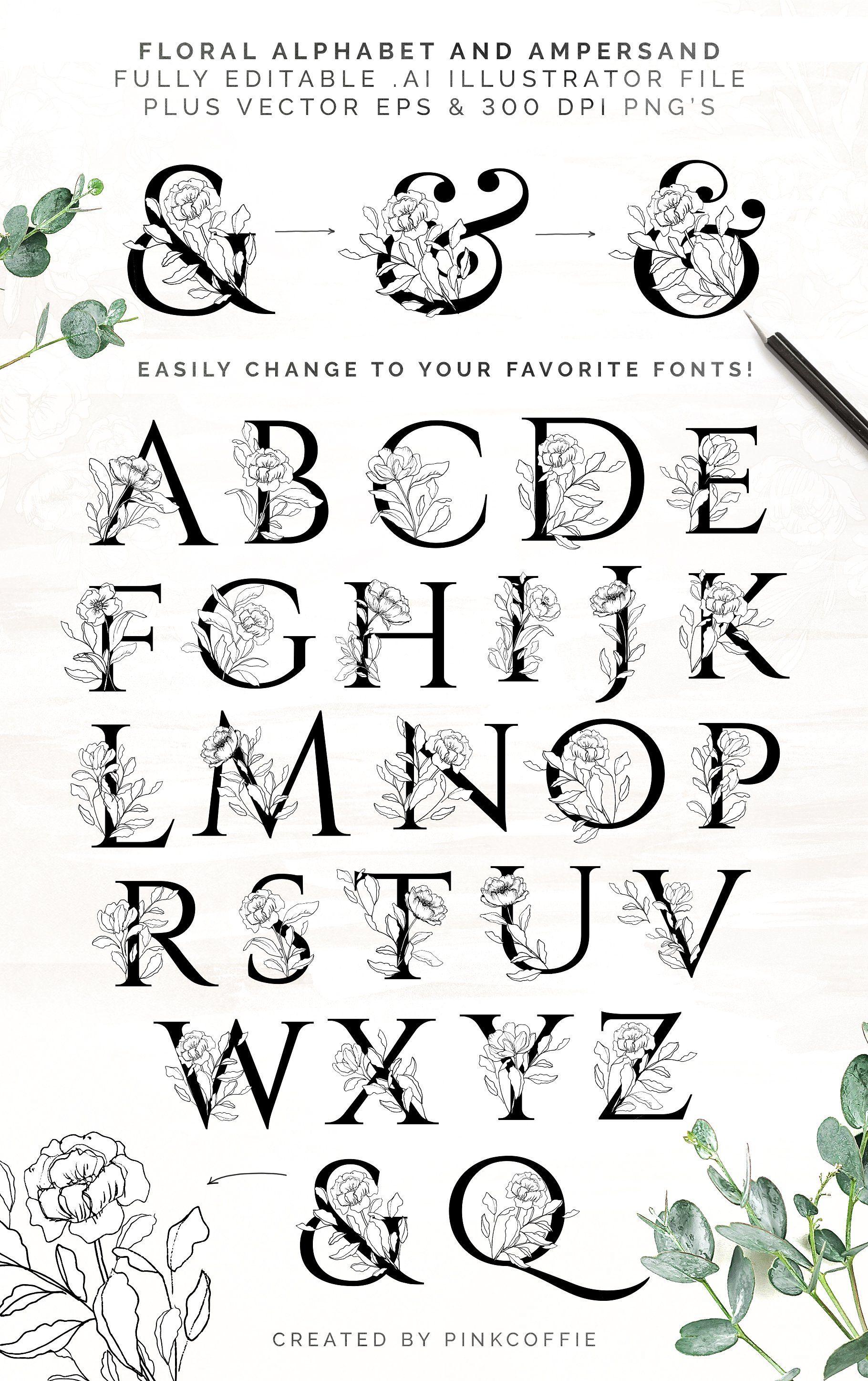 White Bloom Florals, Alphabet +Logos Lettering alphabet
