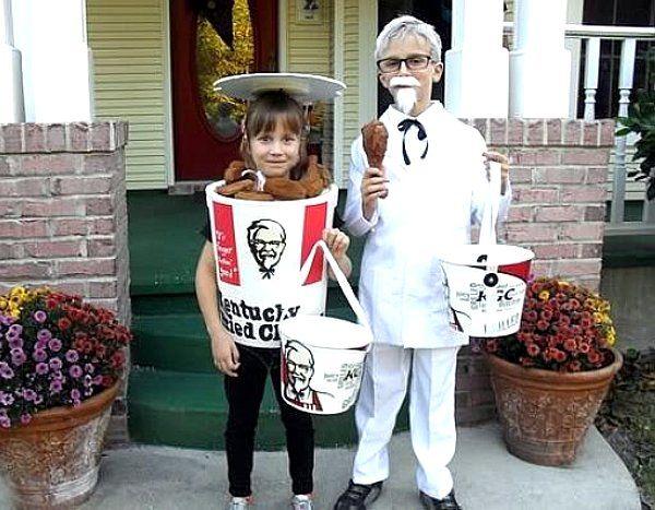 kentucky fried chicken colonel sanders bucket kfc costume couple