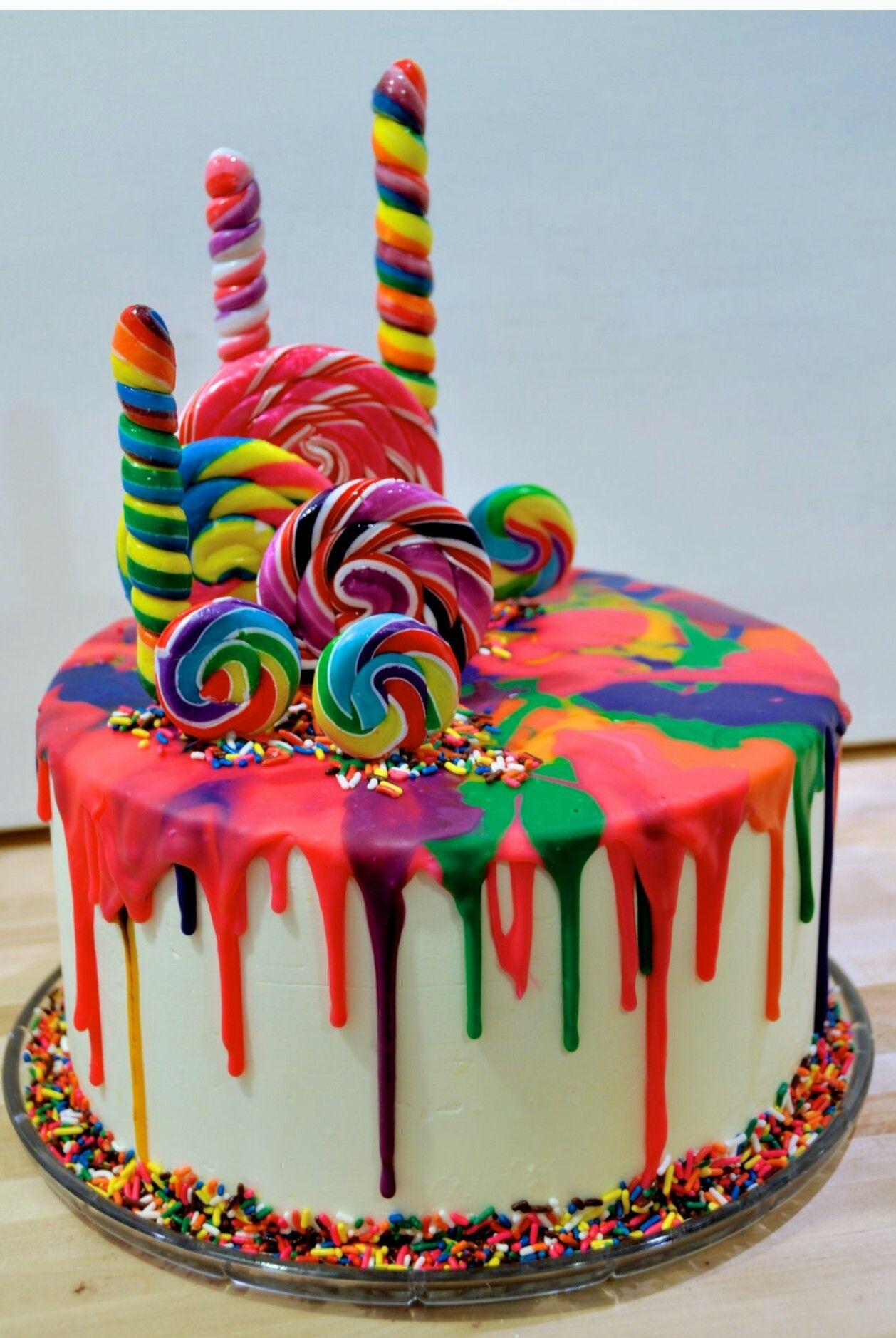 Rainbow Lollipop Ganache Cake Rainbow Unicorn Theme Pinterest